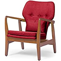 Wholesale Interiors Baxton Studio Rundell Mid-Century Modern Retro Fabric Upholstered Leisure Accent Chair in Pine Brown Wood Frame, Large, Red