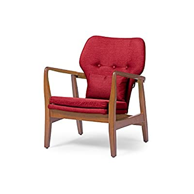 Baxton Studio Wholesale Interiors Rundell Mid-Century Modern Retro Fabric Upholstered Leisure Accent Chair in Pine Brown Wood Frame, Large, Red - Leisure chair for modern living room Mid-Century Modern Furniture 1950s style mid back chair with modern touch - living-room-furniture, living-room, accent-chairs - 41u66E5NXYL. SS400  -