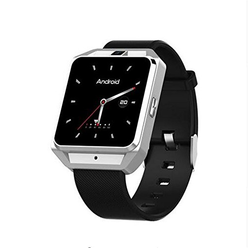 New 4G M5 Smart Watch GPS 1.45 Inch MTK6737 Android 6.0 RAM 1GB ROM 8GB Smartwatch Phone Sports Tracker Heart Rate Monitor support SIM Wifi Wristwatch (Silver)