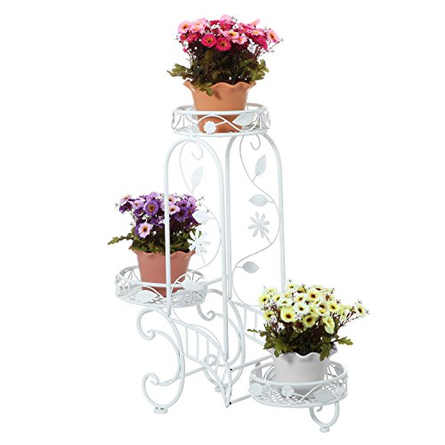 3 Tier Elegant Floral Design White Metal Planters Stand / Plant Holders Display Rack - MyGift