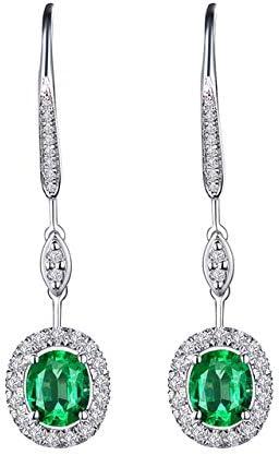 KHOBGLU Pendientes De Piedras Preciosas De Joyería De Plata De Moda para Mujeres Zafiro Esmeralda Rubí Oreja Gotas Accesorios De Fiesta Regalos