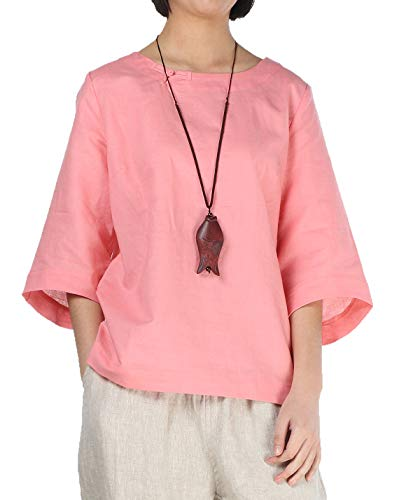 Minibee Women's Loose Cotton Linen Blouse Round Neck with Chinese Frog Button ()