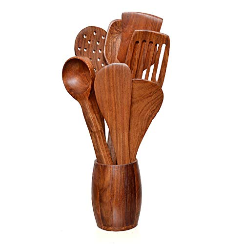 Craftatoz Rosewood A to Z Multipurpose Serving and Cooking Spoon Set, Brown