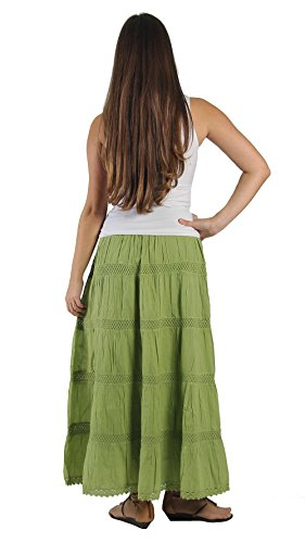KayJayStyles Full Length Womens Solid Embroidered Gypsy Bohemian Long Cotton Skirt (Lime) Photo #4