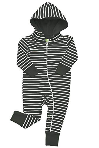 Parade Organics Hoodie '2-Way' Zipper Romper Breton Stripes Black 6-12M