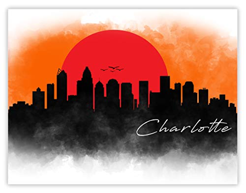 Ramini Brands Charlotte Skyline Drawing - 11 x 14 Unframed Print - Great Gift for Anyone Who's Heart is in North Carolina - Beautiful Colorful Cityscape for Home Office Decor