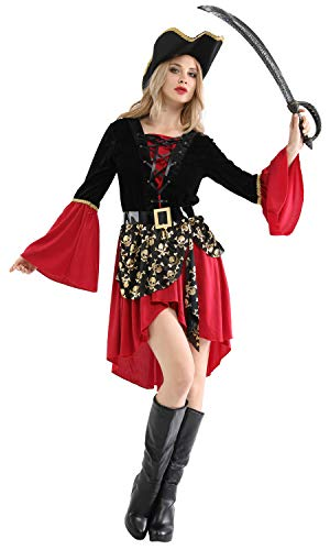 Shanghai Story Women's Halloween Dress Captain Buccaneer Pirate Cosplay Costume -