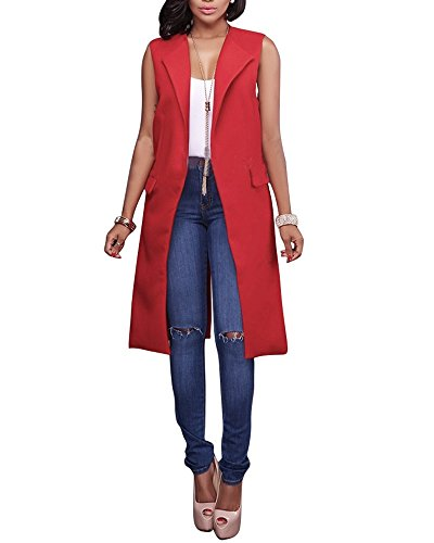 Doris Apparel Womens Open Duster Blazer Vest Longline Sleeveless Waistcoat Jacket Cardigan Coat