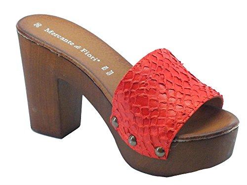 Fiori di Rosso in Pelle Donna Zoccolo Mercante Tacco Rossa Alto P6wq5wpxg
