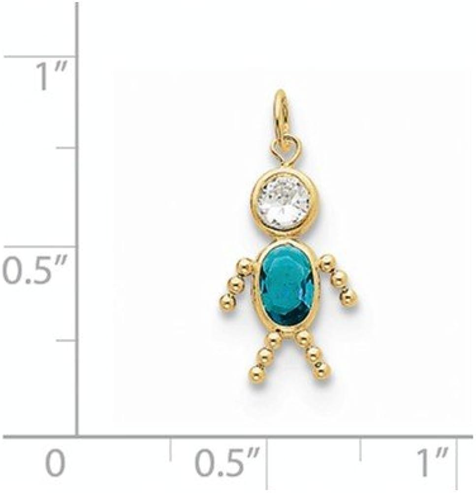 Diamond2Deal 10k Yellow Gold December Boy Birthstone Pendant for Women