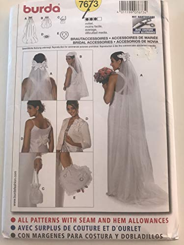 BURDA 7673 BRIDAL ACCESSORIES: VEIL (2), RING PILLOW, PURSE. FLORAL ORNAMENT FOR DRESS OR HAIR ~ SEWING PATTERN ()