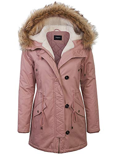 KOGMO Womens Long Anorak Coat Fur Trim Hoodie Jacket with Fuax Fur Lined-L-Mauve ()