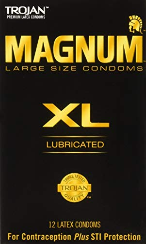 Trojan Magnum XL Size Lubricated Latex Condoms - 12 ct, Pack of 6 - Magnum Latex Lubricated Condoms