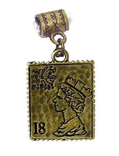 Postage Stamp 18 Cent Woman Collector Mail Bronze Charm for European Bracelets Jewelry Making Supply by Wholesale Charms