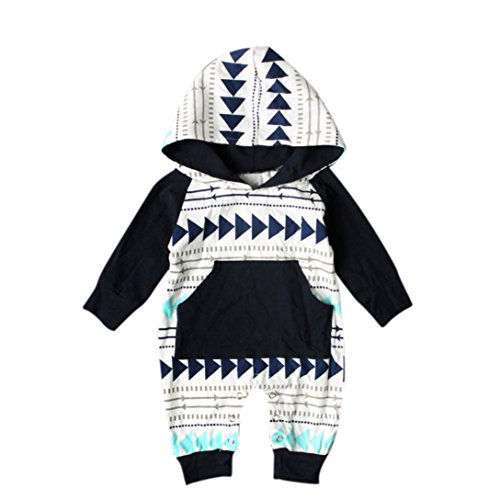 Clearance! Napoo Newborn Infant Baby Boys Girls Geometry Print Hooded Pocket Romper Jumpsuit (6M, Black) by Napoo