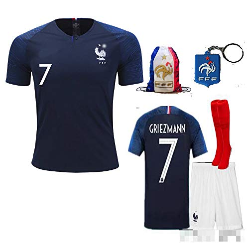 France Soccer Team Pogba Griezmann Mbappe Kid Youth Replica Jersey Kit : Shirt, Short, Socks, Bag, Key, Please Check Size Chart (A. Griezmann, Size 26 (9-10 Yrs Old Approx.)) ()