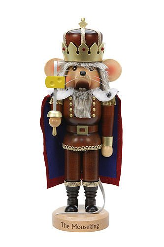 Natural Wood Finish Mouse King with Cheese Nutcracker by Christian Ulbricht