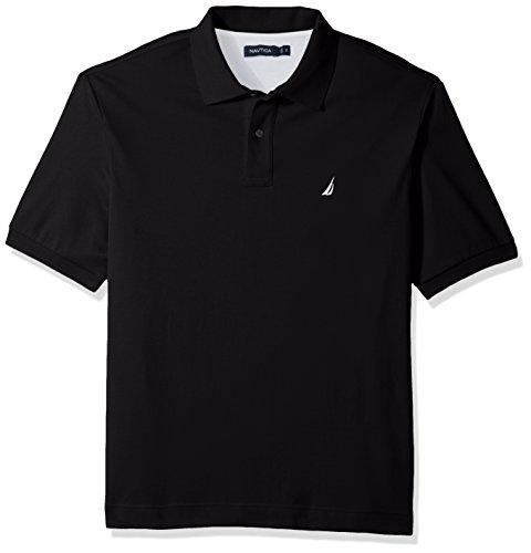 Nautica Men's Big and Tall Classic Fit Short Sleeve Solid Soft Cotton Polo Shirt, True Black, - Plain Shirt 2
