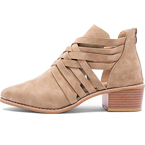 - Athlefit Women's Strap Ankle Boots Cut Out Criss Cross Block Heel Booties Size 6.5 Khaki