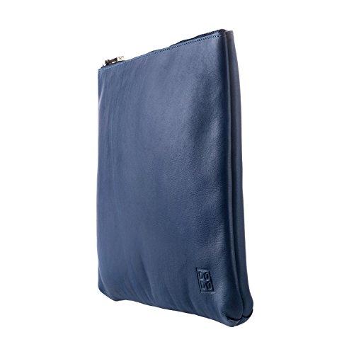 DUDU Bolso Hombre Mujer Maxi de Verdadera Piel Slim con Asa y Cremallera zip Azul