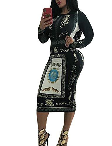 Women's Long Sleeve Bodycon Dresses - Unique Floral Pattern Sheath Midi Dresses (X-Large, Black) -