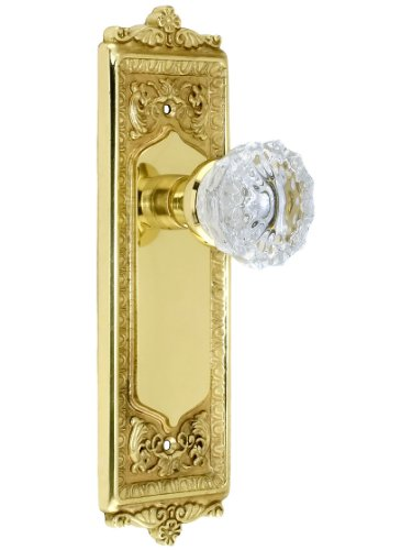 Nostalgic Warehouse 701936 Egg & Dart Plate Door Set with Fluted Crystal Door Knobs Single Dummy in Antique Brass