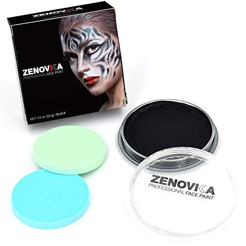Face Paint Kit for Kids, Large Water Based Paints, Halloween Makeup Kit, Professional Face Paint Palette, Face Paints Safe for Sensitive Skin (Black Body Paint 32g /1.13oz)]()
