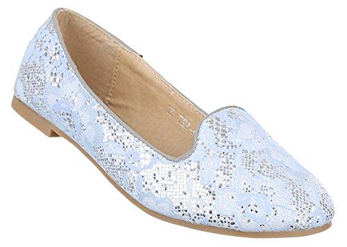 Damen-Schuhe Ballerinas | elegante Slipper mit Blockabsatz in verschiedenen Farben und Größen | Schuhcity24 | Loafers in Spitzenoptik Hellblau