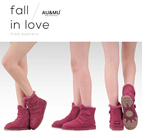 Calf Boots Red Boots Winter AU Mid amp;MU Womens Snow 1 Aumu Short 7wvvnHIYA