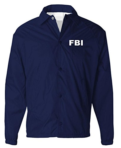 FBI - Bureau Novelty Duty Costume Jacket - Mens Coaches Jacket, S, Navy -