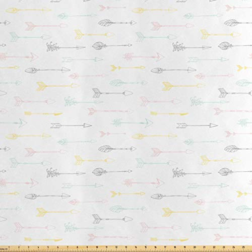Lunarable Ethnic Fabric by The Yard, Native American Culture Arrows Pastel Tribal Design Indigenous Folklore Elements, Decorative Satin Fabric for Home Textiles and Crafts, 1 Yard, Multicolor from Lunarable