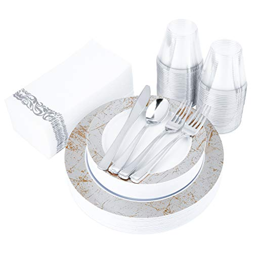200 Piece Disposable Dinnerware Set Heavy Duty Plastic Plates, Cups, Cutlery & Napkins: 25 Dinner Plates, 25 Dessert Plates, 25 Cups, 50 Forks, 25 Spoons, 25 Knives & 25 Guest Towels (Silver Marble)