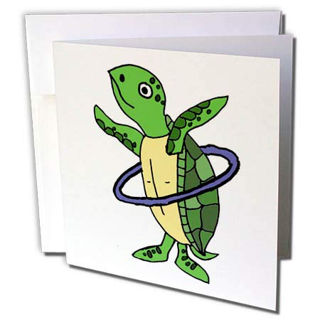 (3dRose All Smiles Art Animals - Funny Cool Sea Turtle Playing Hula Hoop Beach Cartoon - 1 Greeting Card with Envelope (gc_287949_5) )