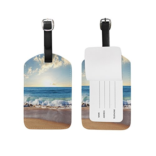 JSTEL Beach And Spray Luggage Tags Suitcase Labels Travel ID Identifier Privacy Cover Beach Theme Luggage Tag