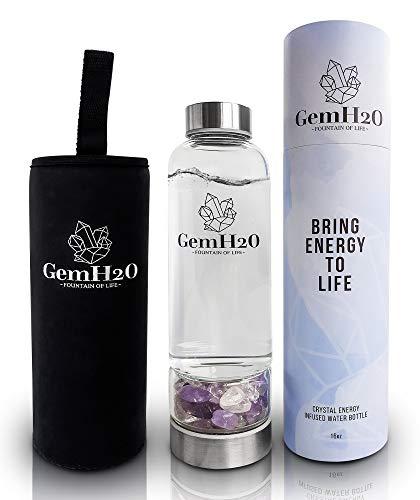 Crystal Water Bottle - Water Bottle with Crystal Inside - Crystal Infused Water Bottle - Gem Infused Water Bottle - Elixir - Amethyst & Clear Quartz - GemH20
