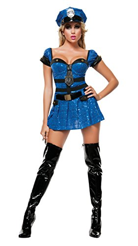 Starline Women's Miss Chief Of Police 4 Piece Costume Set with Handcuffs, Blue, (Sequin Adult Cop Hat)