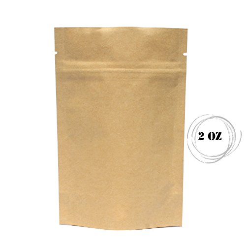 Awepackage 2 Oz Kraft Paper Stand Up Zipper Pouch Bags 100