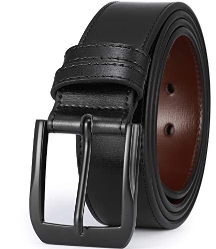 "Beltox Fine Men's Casual Leather Jeans Belts 1 1/2"" Wide 4MM Thick Alloy Prong Buckle Work Dress Belt for Men(Black Belt with Black Buckle,52-54)"