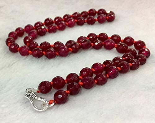 FidgetGear Fine 6mm red Ruby Faceted Roundel Gems Beads Necklace 925 Silver Clasp AAA Coral Necklace 925 Silver Clasp