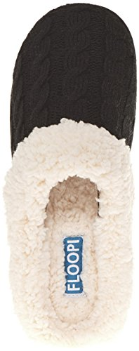 Floopi Dames Indoor Outdoor Gebreide Sherpa Beklede Klomp Slipper W / Memory Foam Zwart-302