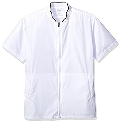 Calvin Klein Men's Short Sleeve Woven Button Down Shirt, White Zipper, 2XL