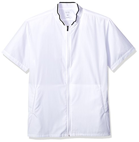 Calvin Klein Men's Short Sleeve Woven Button Down Shirt, White Zipper, XL (Shirt Woven Sleeve)
