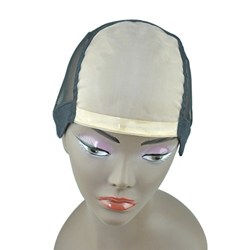 Mono Cap Wig (GEX Mono U Part Weaving Wig Foundation Wig Cap Full Cap with Sturdy Straps 1'' X 3.5'' U Part and 2 Clip Combs For Wig Making M Size)