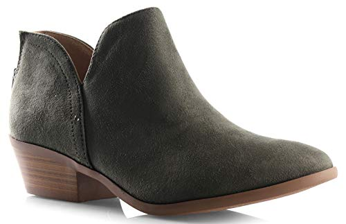 Green Distressed Leather Footwear - Women's Madeline Western Almond Round Toe Slip on Bootie - Low Stack Heel - Zip Up - Casual Ankle Boot Light Khaki 7.5