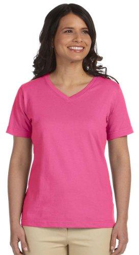 - LAT Womens Combed Ringspun V-Neck T-Shirt (L-3587) -RASPBERRY -2XL
