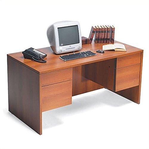 Double Pedestal Executive Desk Avant Cherry/ Storm Gray