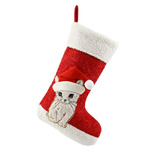Personalized Pet Stockings - WEWILL Christmas Holiday Pet Theme Embroidered Stockings Socks, 20 Inch (Cat)