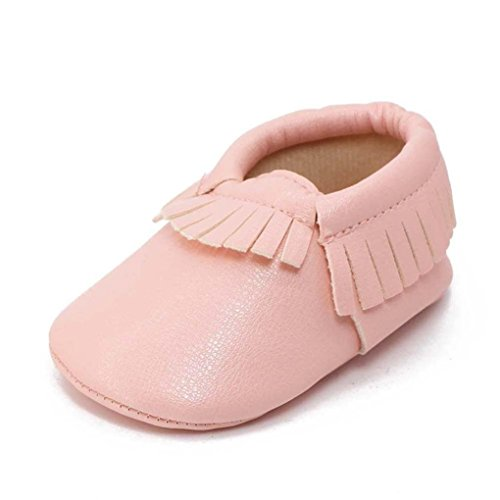 Voberry Baby Girls Soft Soled Tassel Bowknots Crib Shoes Moccasins (Pink Moccasin)