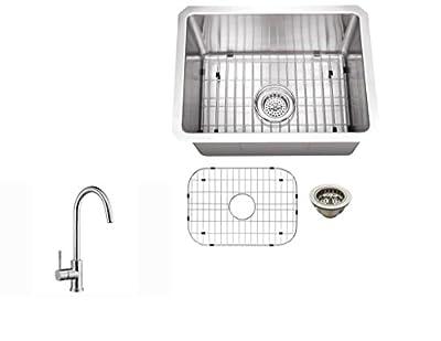 "MSRA1520P805, 15"" x 20"" Stainless Steel 16 Gauge Tiny Radius Single Bowl Bar Sink with Gooseneck Kitchen Faucet"