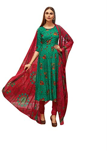 (Ladyline Rayon Printed Salwar Kameez Womens Indian Dress (Size_40/ Teal Green))